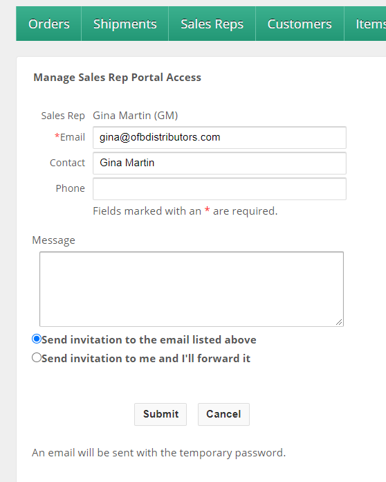 Manage Sales Rep Portal Access