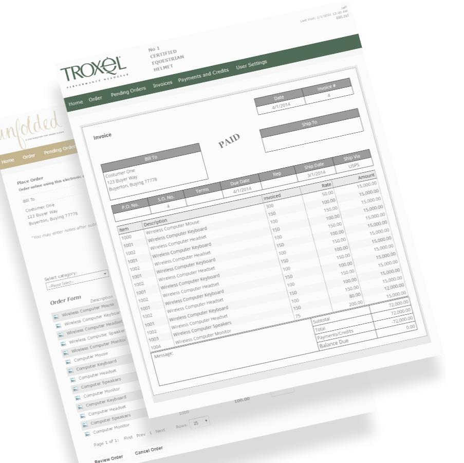 customer portal screens